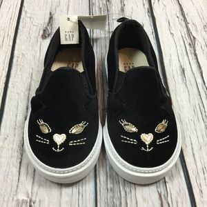 Gap Girls Toddler 5 6 7 8 Black Kitten Shoes